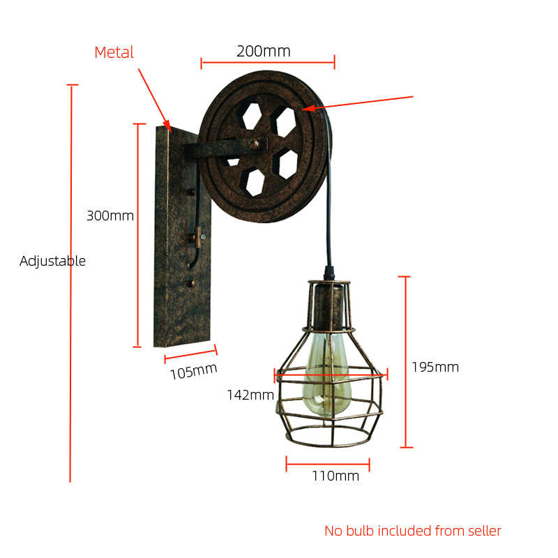 Ce ferro do vintage luz de parede interior e27 luminária flexível retro quarto design da lâmpada parede loft levantamento industrial arandela sutiã