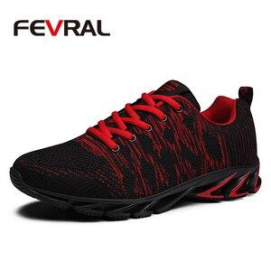 Image 1 - FEVRAL ماركة 2020 الصيف تنفس الرجال أحذية رياضية الكبار أحمر أزرق أخضر جودة عالية مريحة عدم الانزلاق لينة حذاء رجالي