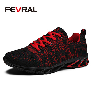 Image 1 - FEVRAL Brand 2020 Summer Breathable Men Sneakers Adult Red Blue Green High Quality Comfortable Non slip Soft Men Shoes