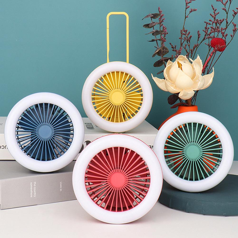 Mini Portable Fan USB Rechargeable Cooling Fan LED Night Light Foldable Carabiner Hanging Fan Glowing Fan With Carabiner Clip