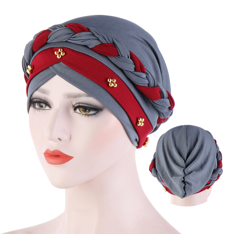 Two-Color Beaded Braid Hijab Caps Spring And Autumn Muslim Wrap Turban Cap Fashion Cotton Inner Hijabs Bonnet Ready To Wear