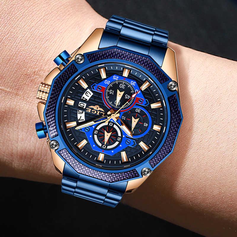 Lige 2020 relógios masculino da moda, aço inoxidável cronógrafo esportes relógio de homens top marca de luxo relógio masculino