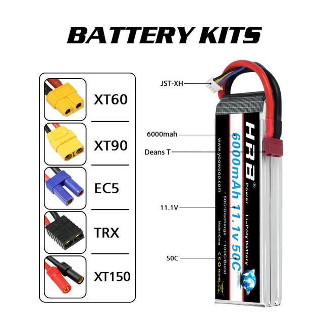 2packs hrb 3s lipo battery 6000mah