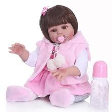 48 ซม.Bebe ตุ๊กตา Reborn เด็กวัยหัดเดินตุ๊กตากระต่ายสีชมพูชุด Body นุ่มซิลิโคนเด็กทารกยาวเรียบผม bath ของเล่น