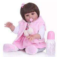 48 см bebe Кукла reborn Девочка Кукла в розовом платье кролика полное тело мягкий силиконовый реалистичный ребенок гладкие длинные волосы Ванна игрушка