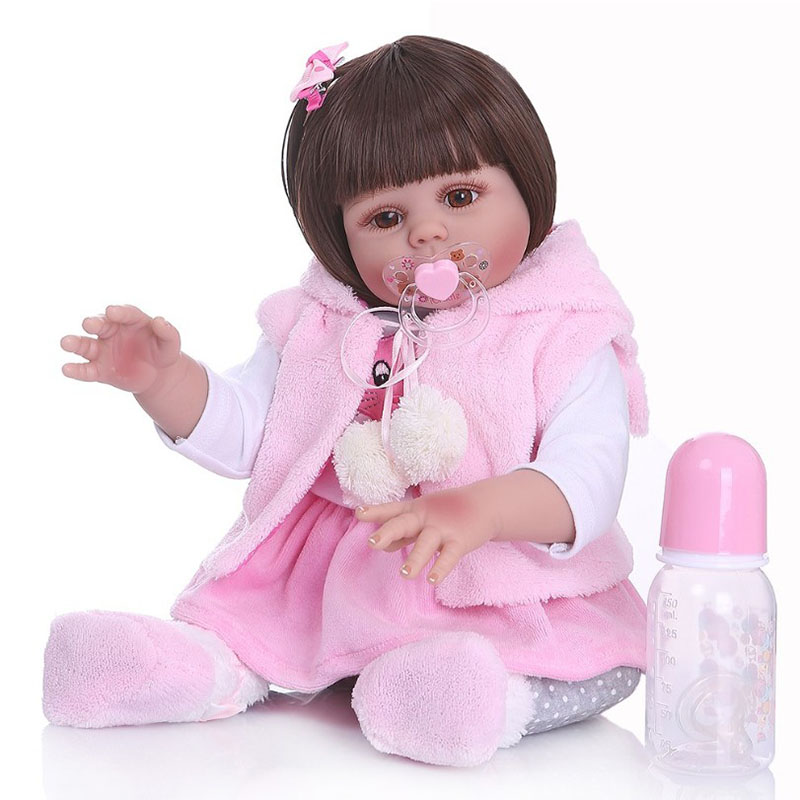 48CM Bebe Doll Reborn Toddler Girl Doll In Pink Rabbit Dress Full Body Soft Silicone Realistic Baby Smooth Long Hair Bath Toy