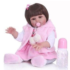 Image 1 - 48CM bebe muñeca renacida niña pequeña muñeca en vestido de conejo rosa de cuerpo completo suave silicona realista bebé suave Pelo Largo juguete de baño