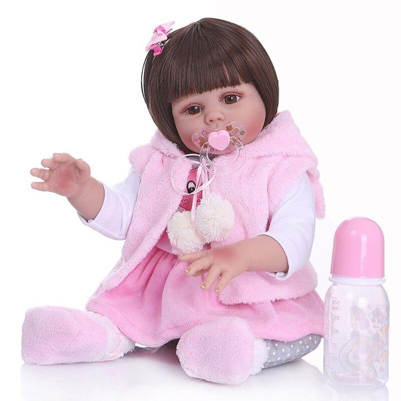 48CM bebe poupée reborn bambin fille poupée en rose lapin robe corps entier doux silicone réaliste bébé lisse cheveux longs jouet de bain