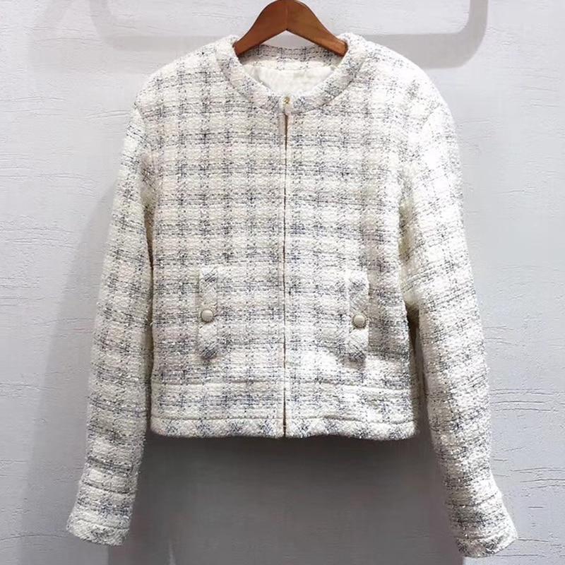 Fashion Tweed Jacket Women Classic Plaid Zipper Jacket Spring Autumn Lady Coat Outerwear