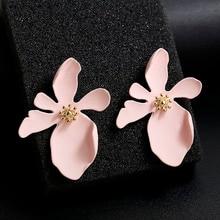 Korea New 2018 Design Big Acetic Acid Acrylic Irregular Metal Flower Stud Earrings For Women Girls Fashion Jewelry Earring