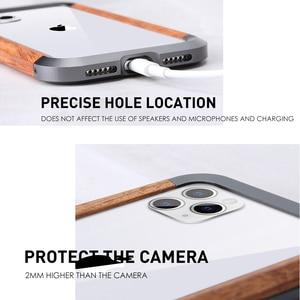 Image 2 - إطار فاخر مقاوم للصدمات من الألومنيوم + الخشب لهاتف أبل آيفون 12 برو ماكس 11 × XS ماكس XR حافظة هاتف صغيرة لحماية السجل المعدني