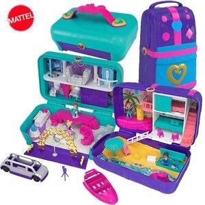 Image 1 - Original mattel polly pocket meninas casa bonecas grande milhão mundo caixa de tesouro luxo carro viagem terno meninas brinquedos grande bolso mundo