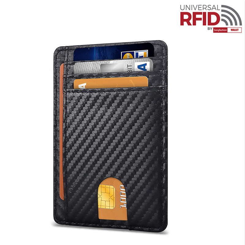 RFID Genuine Leather Easy Push Business Card Holder Men's Safiano Black Wide Plus Size Id Card Wallet Clear Window Case