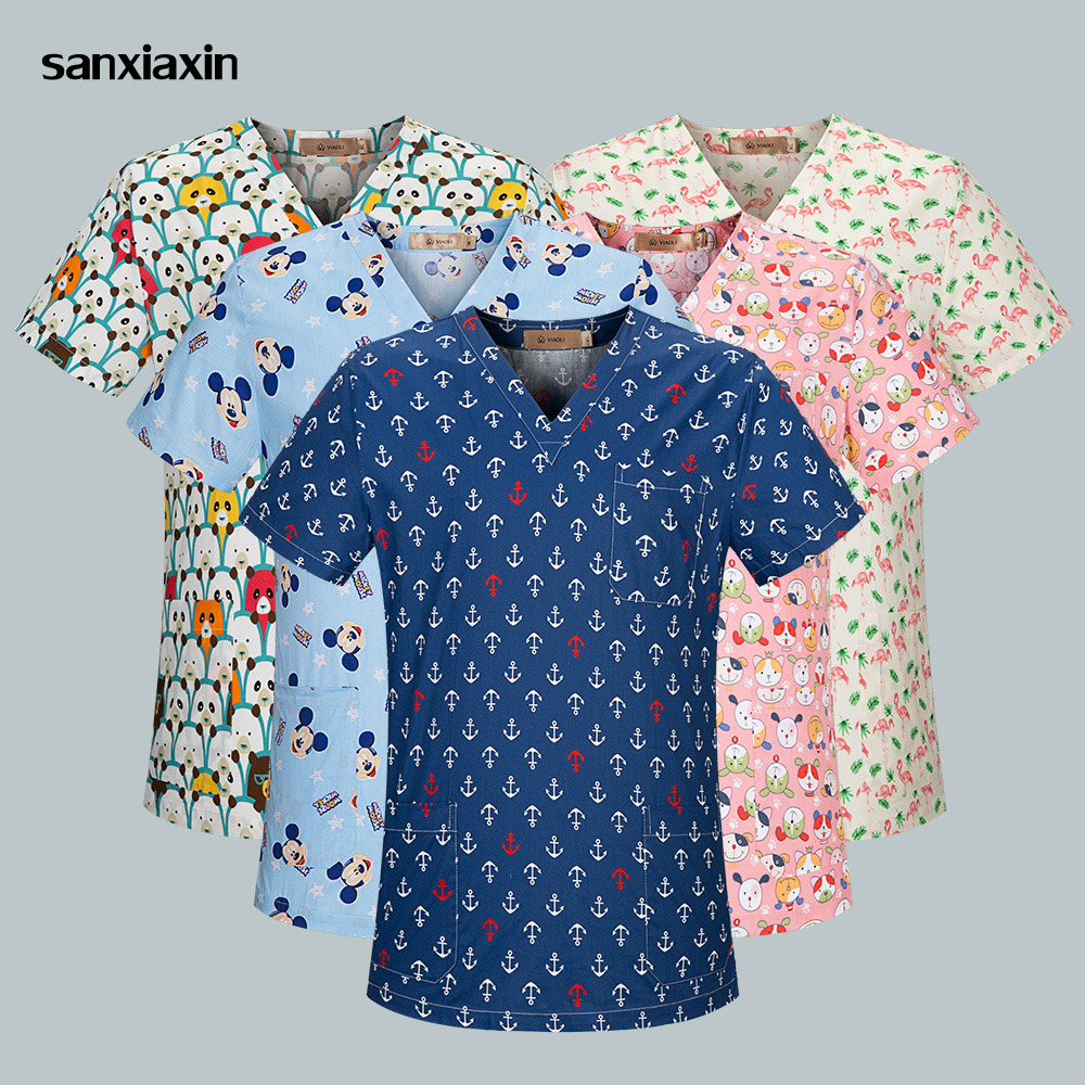 Sanxiaxin Fashion Women Short Sleeve Sugery Tops Medical Clothes Nurse Doctor Costume Breathable Cotton Surgical Uniform Unisex