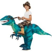 Velociraptor T REX maskot şişme kostüm çocuklar için Anime cadılar bayramı kostümleri dinozor doğum günü hediyesi parti Cosplay havaya uçurmak