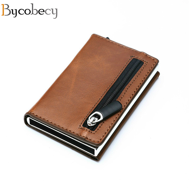 Bycobecy Rfid Smart Wallet Credit Card Holder Metal Thin Slim Men Wallets Pass Secret Pop Up Minimalist Wallet Small Coin Purse