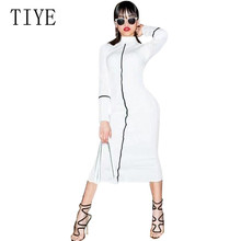 TIYE Women Elegant Summer Midi Dress Newest Fashion Long Sleeve Turtleneck Casual White Autumn Femme Party Dresses