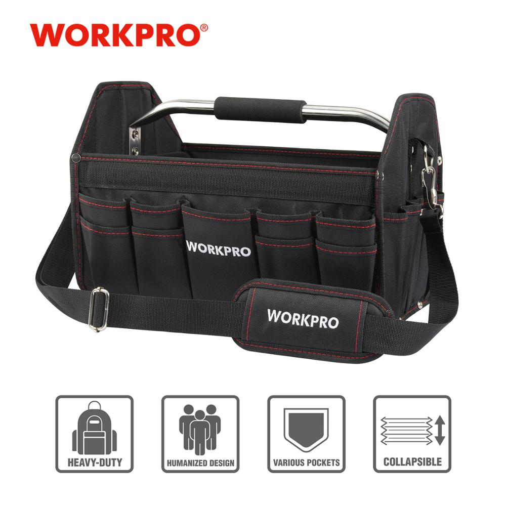 """""""WORKPRO"""" 16 colių """"600D"""" sulankstomas įrankių krepšys Pečių krepšys Rankinės įrankių tvarkyklės laikymo krepšys"""