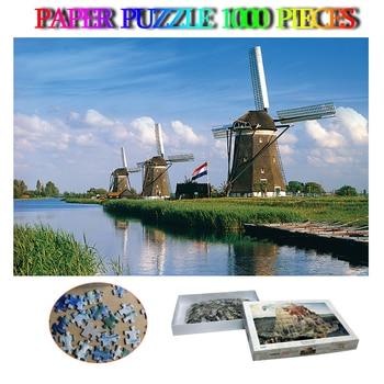 Molinos de viento, 1000 piezas, rompecabezas de paisaje famoso de los Países Bajos, rompecabezas de papel de avión, rompecabezas de descompresión para adultos, rompecabezas de juguete difíciles