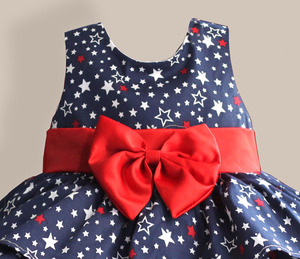 Image 3 - Star Print Red Bow 100% Cotton Layers Baby Girls Dress 1 year birthday party wedding kids clothes infant toddler wear 3M 6M 12 4