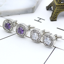 Delicate Tiny Round Cufflink For Men Boys Purple Crystal Luxury High Quality French Shirts Cuff Links Button Male Jewelry Gifts classic crystal spider cufflinks for men high quality male french shirt cuff links for men s jewelry birthday wedding gift