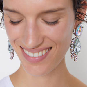 Drop-Earrings Vintage Jewelry Large Crystal Shiny Colorful Women Fashion Luxury for Statement