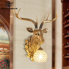 Modern Retro Resin Wall Lamp Antlers Bedside Lamp Deer Head Home Decor wall sconce light fixtures Wall Lights indoor lighting modern led gold wall lamp indoor lighting wall sconce light fixtures corridor bathroom aluminum wall lights outdoor bedside lamp