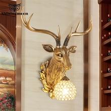 Modern Retro Resin Wall Lamp Antlers Bedside Deer Head Home Decor wall sconce light fixtures Lights indoor lighting
