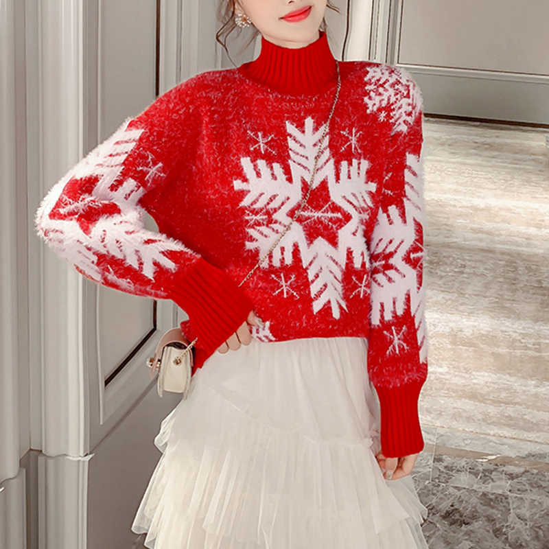 Woman Sweater New Year 2020 Snowflake Pattern Red Jumper