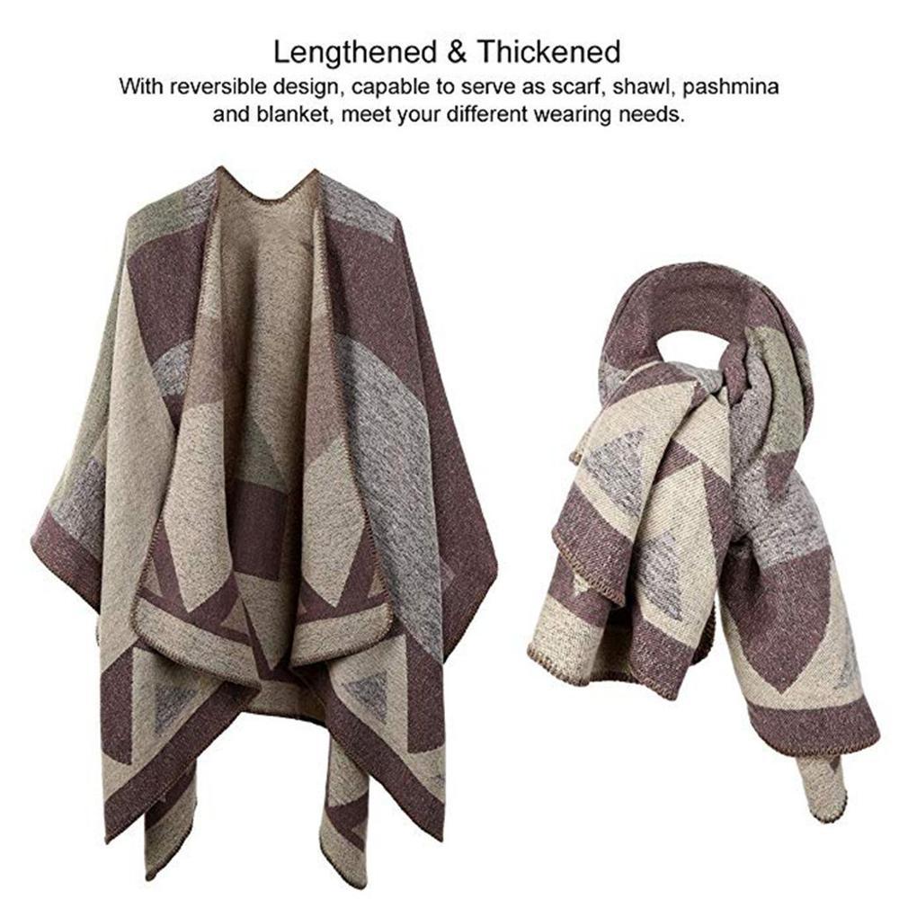 Poncho Women Winter Warm Patchwork Cloak Shawl Plus Size Cape Coat Cape Manteau Ponczo Damska Tapados Mujer Verano Free Shipping
