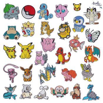 Pokemon Cloth Patch Pikachu Pokeball naszywki na ubrania szyć na haft aplikacja figurki Anime do ubrania DIY Decor dzieci zabawki prezenty tanie i dobre opinie TAKARA TOMY Model 4-6y 7-12y 12 + y CN (pochodzenie) Unisex Pikachu Pokeball Clothes Stickers PIERWSZA EDYCJA Wyroby gotowe