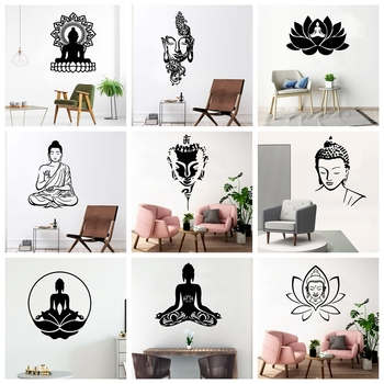 New Buddha Art Vinyl Wall Stickers Wallpaper For Living Room Home Decorative Religious Wall Decals Sticker Mural Wall Decor removable laundry wall stickers decorative sticker home decor for kids room living room home decor art decals