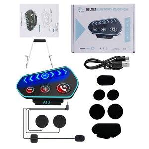 Image 5 - سماعة رأس بلوتوث 5.0 A10 للدراجات النارية ، مع ميكروفون IP67 ، LED ، مقاوم للماء ، لاسلكي ، للمكالمات والموسيقى