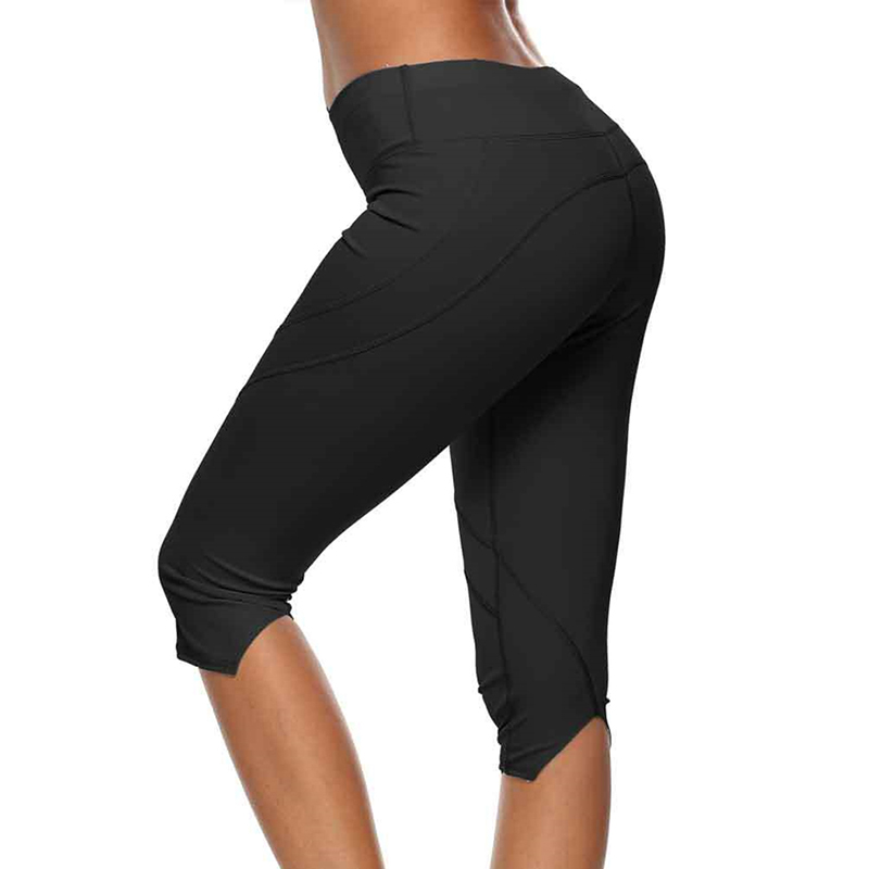 2020 Fashion Summer Women Running Tights Elastic Breathable Sports Slim Push Up Exercise Gym Fitness Capris 3/4 Pants 4 Color