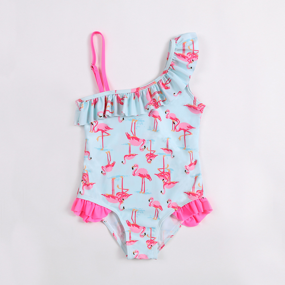 2018 Europe And America New Style Bathing Suit Sweet Cute Children Small CHILDREN'S Girls One-Piece One-piece Swimming Suit PRD1
