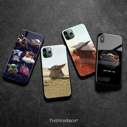 Yoda bebê silicone macio vidro temperado caso do telefone capa escudo para o iphone se 6s 7 8 plus x xr xs 11 12 mini pro max