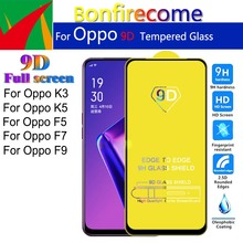 5Pcs\lot 9D Full Cover Tempered Glass For Oppo K3 K5 F5 F7 F9 Screen Protector Protective Film Glass