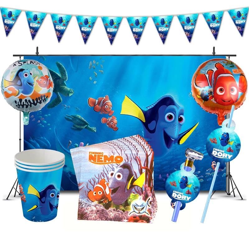 В поисках Немо день рождения поставка украшений для вечеринок Дори тема посуда бумажные стаканчики баннеры шляпы ткани