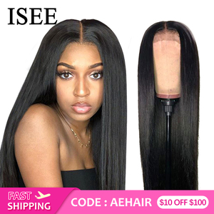 ISEE HAIR Straight Lace Front Wig Remy 360 Lace Frontal Wig 150% Density 13X4/13X6 Malaysian Straight Lace Front Human Hair Wigs
