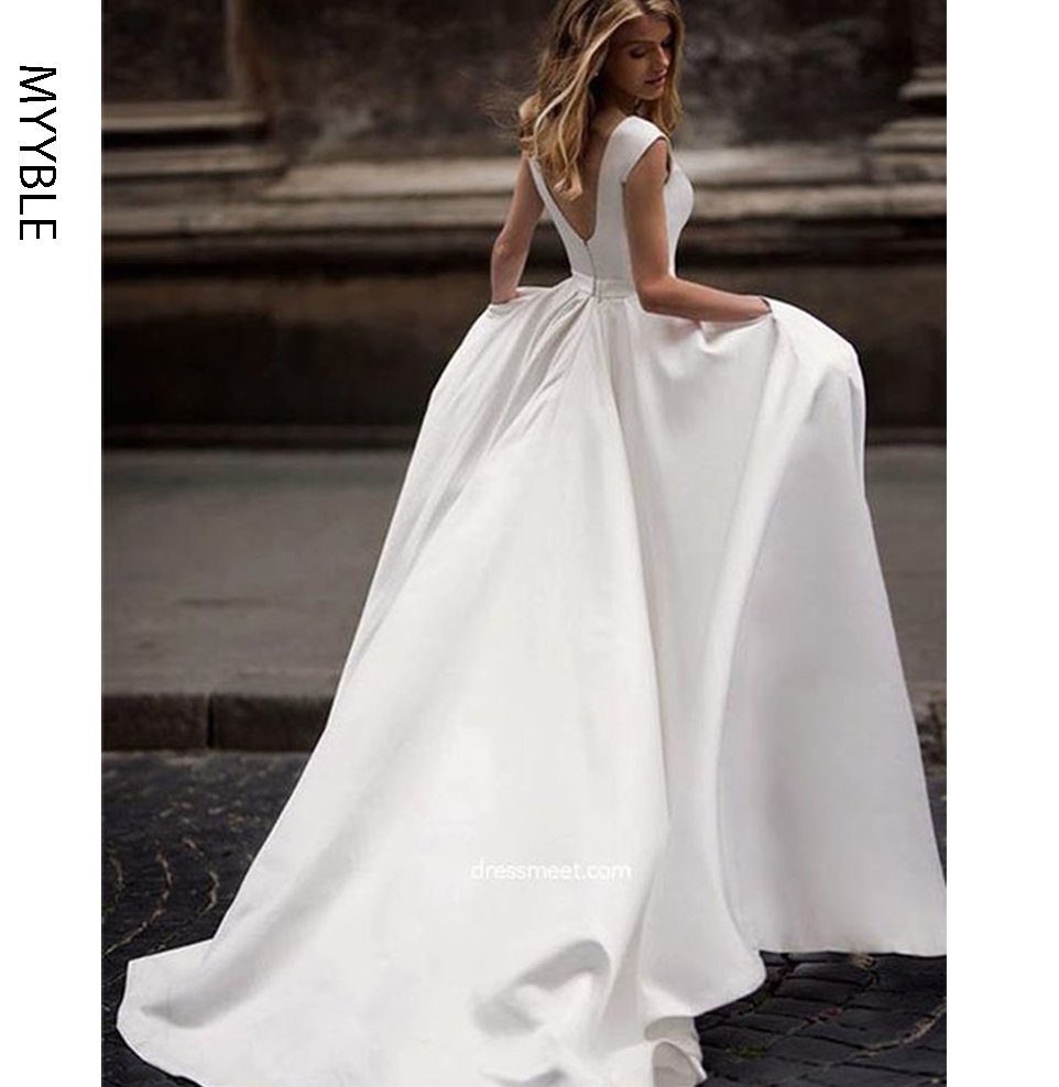 MYYBLE Wedding Dresses With Pocket 2020 Vestido De Novia Satin White Sleeveless Bridal Gowns Floor Length Wedding Gown