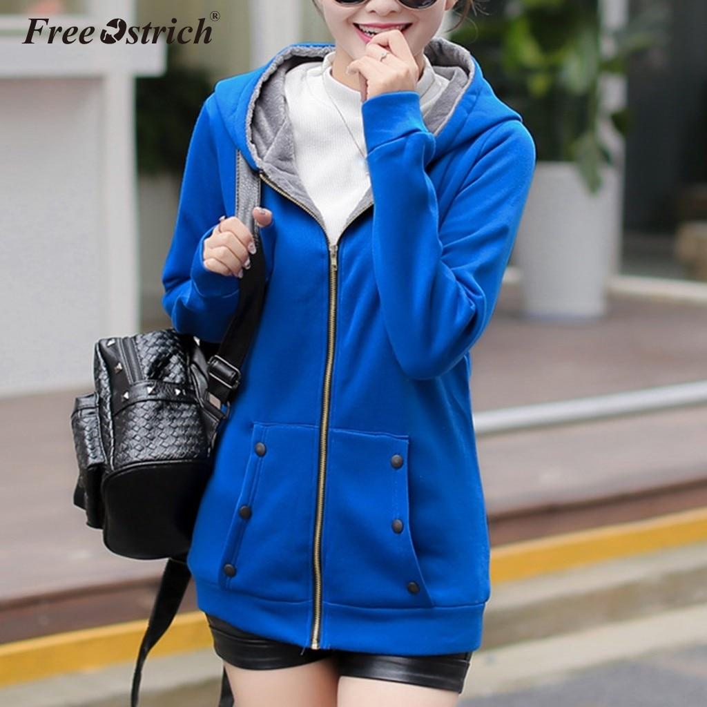 Free Ostrich New Spring Autumn Women's Clothing Hooded Fleece   Basic     Jacket   Long Sleeve Female Coats Zipper Casual Outerwear N30