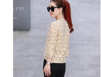 2019 autumn plus size lace flare sleeve women chiffon blouse shirt casual solid hollow women clothing top femlae blusas 905E 30 5