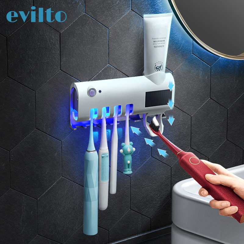 Smart UV Toothbrush Sterilizer Solar Energy Electric Toothbrush Disinfectant Cleaning Wall Mount Toothpaste Dispenser Holder image