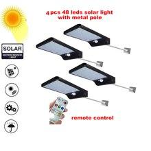 2/4pcs Upgraded Solar LED light Solar Powered 48 LEDs Four Modes Waterproof PIR Motion Sensor Lamp Outdoor Fence Garden Path Wal