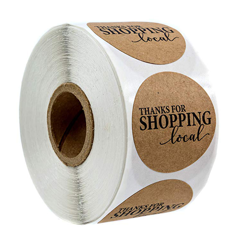 Round Kraft Thank You For Shopping Local Stickers -500 Labels Per Roll Handmade Lable For Scrapbooking Office Stationery Sticker