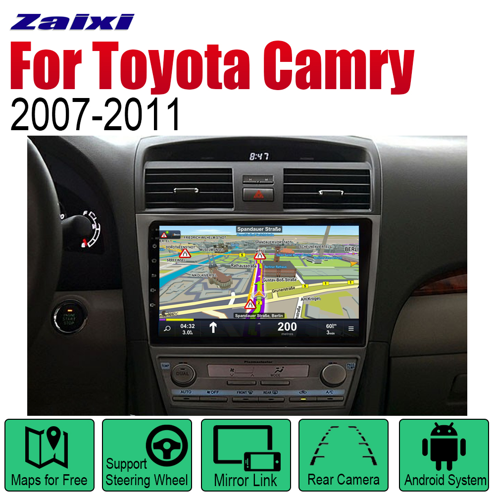 ZaiXi Android 2 Din Auto Radio For Toyota Camry 2007 2011 Car Multimedia Player GPS Navigation System Radio Stereo in Car Multimedia Player from Automobiles Motorcycles