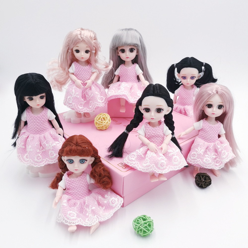16cm Baby Doll Accessories 1/8 Bjd Doll Clothes Pink Dress For Dress Up Boby Doll Diy Toys For Girls Children's Toy