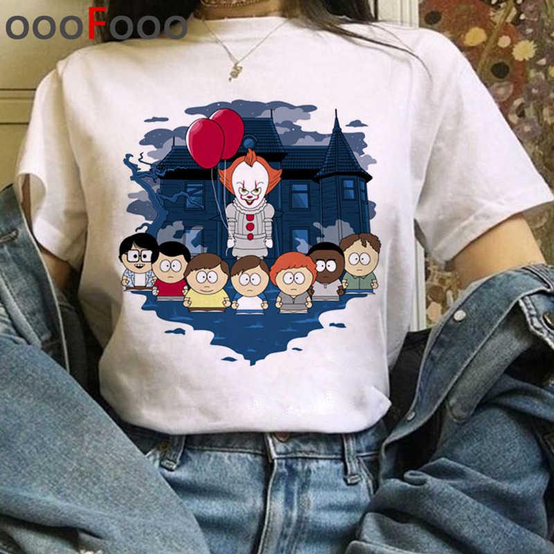 Es película Harajuku Horror T Shirt mujeres It Clowns Ullzang divertida camiseta de dibujos animados Halloween Pennywise camiseta Hip Hop camiseta superior Mujer