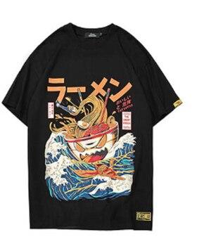 Japanese Harajuku T-Shirt Men  Summer Hip Hop Noodle Ship Cartoon Streetwear Tshirts Short Sleeve Casual Top Cotton