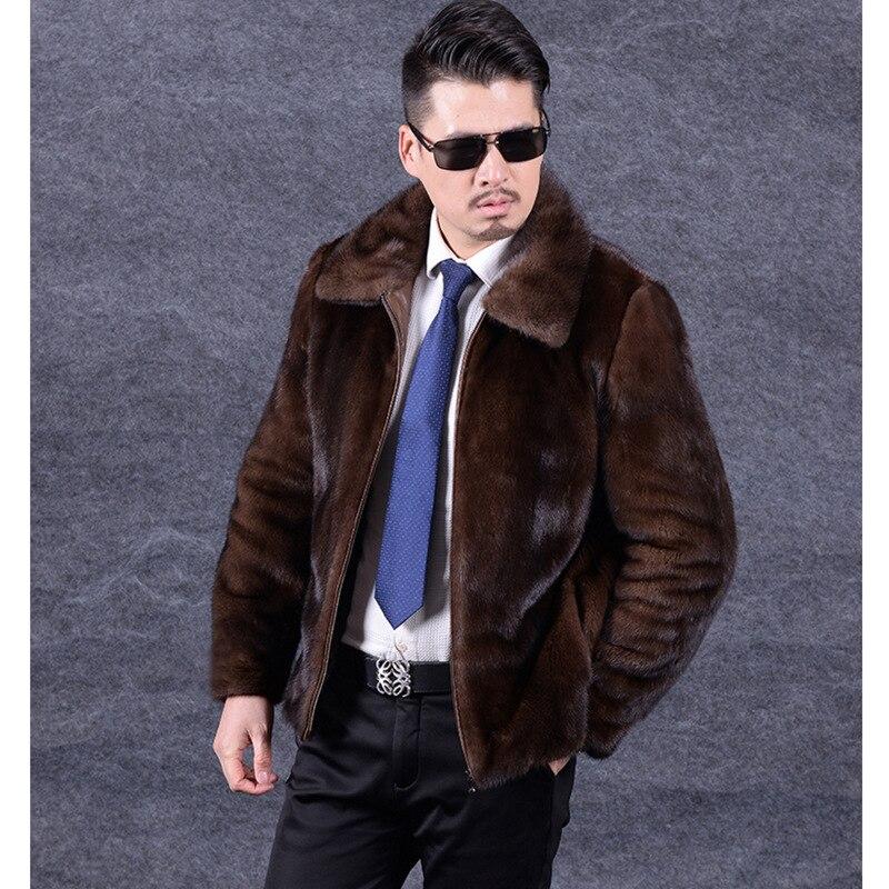 New Men's Mink-like Fur Coat In Autumn Winter Mink Fur Coat Men Faux Leather Jacket Men